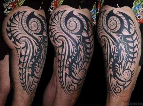 tribal tattoo in legs 53 fantastic tribal tattoos on thigh