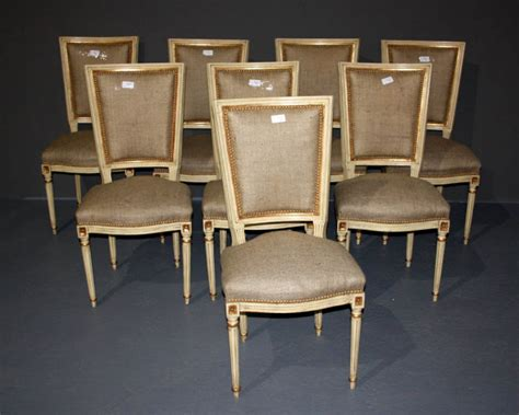 Set Of 8 French Louis Xvi Painted Dining Burlap Chairs For Painted Dining Chairs For Sale