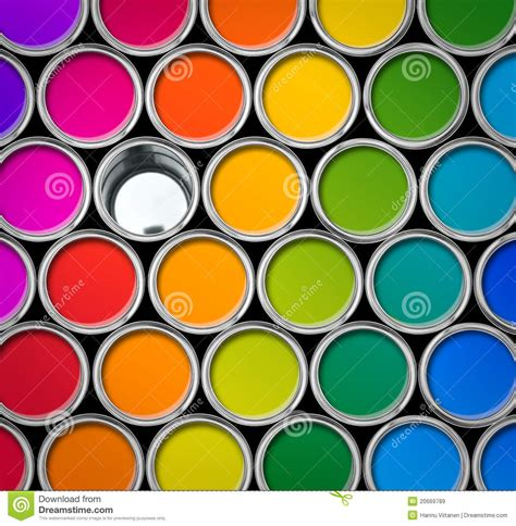 color and paint color paint tin cans top view stock image image 20669789