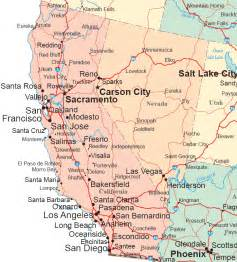map of california and nevada cities california map