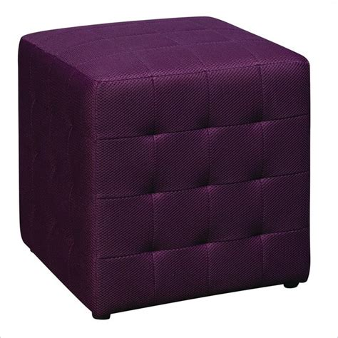 Ave Six Detour 15 Quot Mesh Fabric Cube In Purple Purple Ottoman
