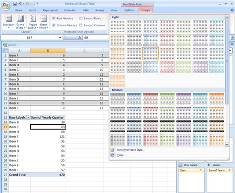 format pivot table excel 2007 add or remove a field in a pivottable or pivotchart report