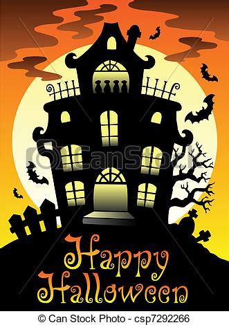 halloween themes line clip art vector of happy halloween theme with moon 2