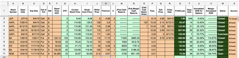 options tracker spreadsheet  investing