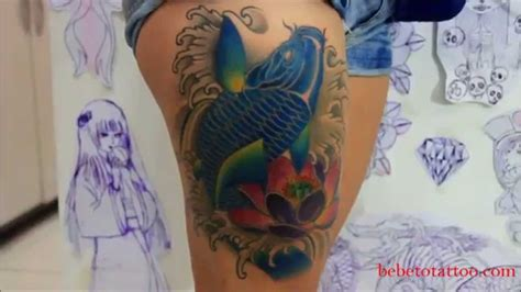 tattoo de lotus oriental bebeto tattoo studio big 243 ga tatuando uma carpa e l 243 tus