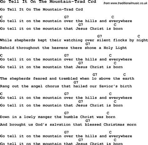 printable lyrics go tell it on the mountain skiffle lyrics for go tell it on the mountain trad with