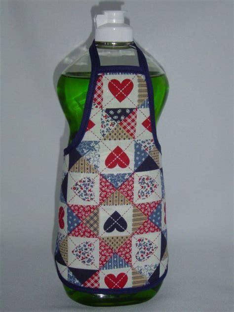 Apron Pattern For Soap Bottles | hearts dish soap bottle apron cover quilt pattern blue