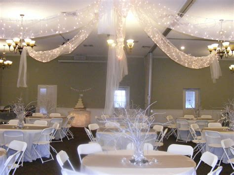 white and silver wedding reception in our church