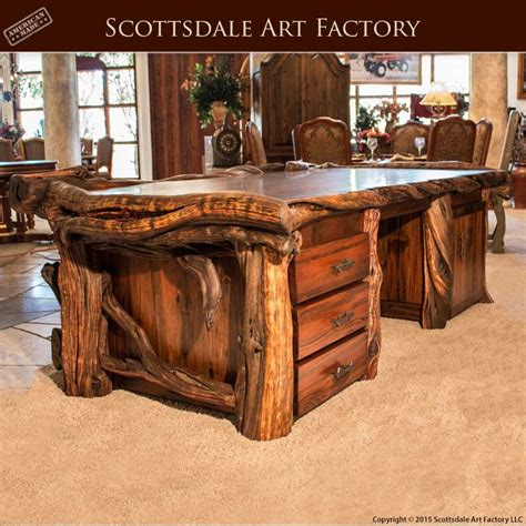 Custom Made Wood Executive Desk Live Edge Fine Art Office Real Wood Office Desk