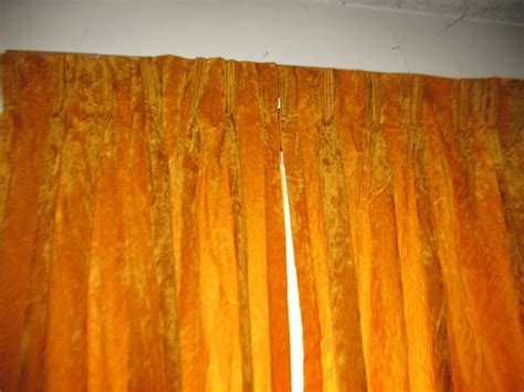 Gold Crushed Velvet Drapes Vintage Curtains Two Panels