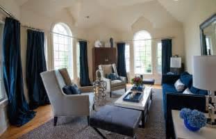 Elegant navy blue curtains method new york transitional living room innovative designs with bar