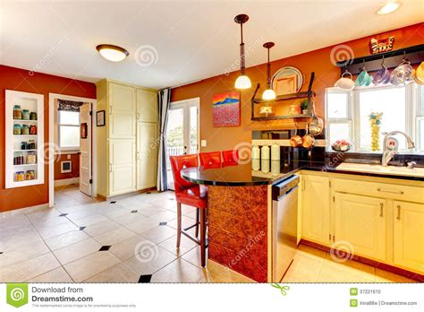 warm colors cozy kitchen room stock photo image of