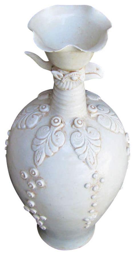 unique antique white bird carving clay vase