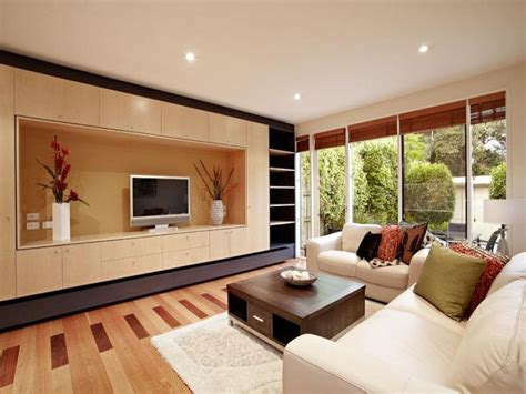 split level living room using brown colours with