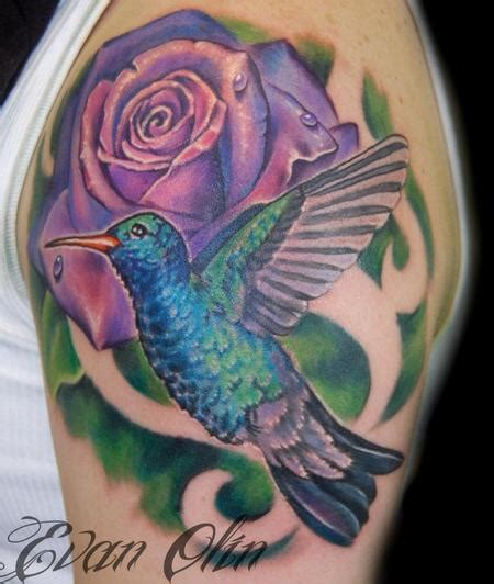 hummingbird rose tattoo powerline tattoos evan olin color