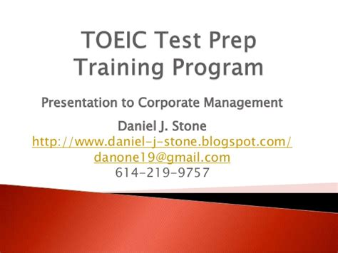 Orientation Programme For Mba Students Ppt by Toeic Test Prep Program Marketing Presentation