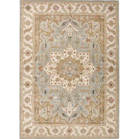 Asian Area Rug Jaipur Rug1 Poeme Tufted Pattern Wool Blue Ivory Area Rug Homeclick