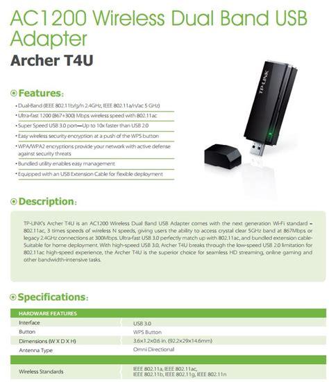 Ac1200 Wireless Dual Band Usb Adapter Archer T4u tp link archer t4u ac1200 wireless dual band usb3 adapter