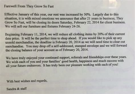 Cancellation Letter Danvil They Grow So Fast Closing Tomorrow In Lafayette Beyond The Creek