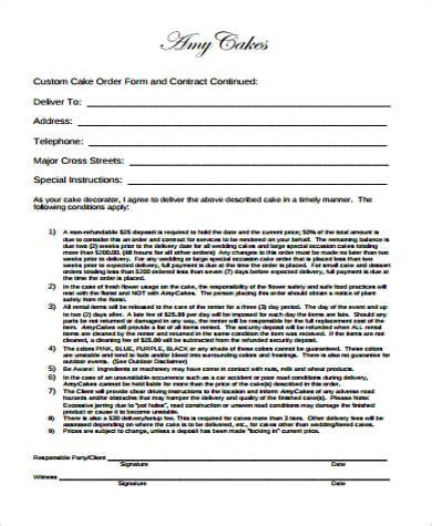 7 Cake Order Form Sles Sle Templates Birthday Contract Template