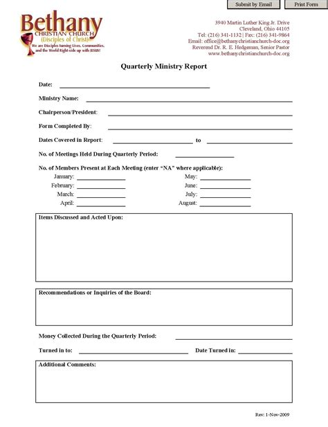 Monthly Ministry Report Template
