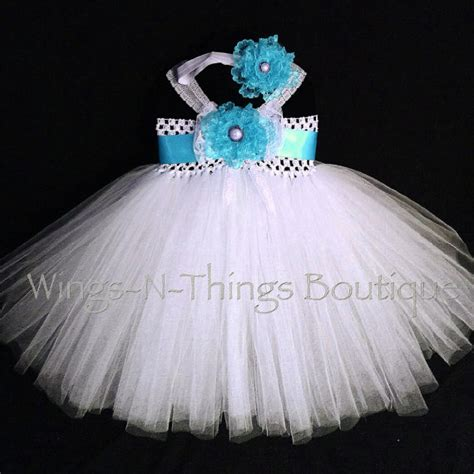 Dress Tutu White Blue Flower 4 6 Th Include Headbandgelangcincin blue tutu dress turquoise 2pc set w headband flower white lace summer
