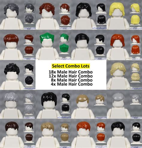 lego assorted lots of minifigure hair pieces wigs hat cap tousled town ebay