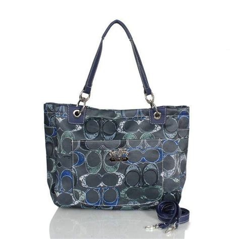 coach poppy  monogram large navy totes bwx shoes