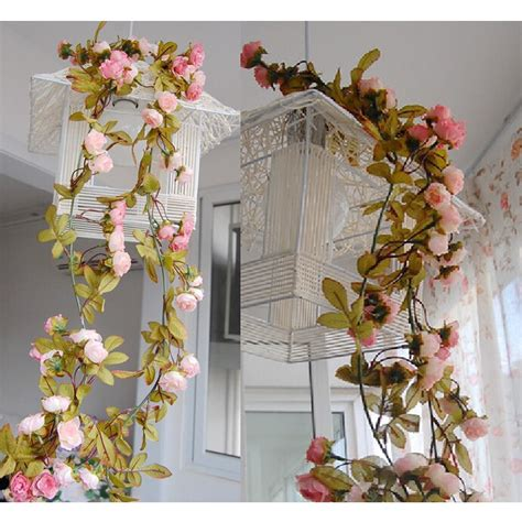 Home Ganpati Decoration by Artificial Fake Silk Rose Flower Vine Hanging Garland