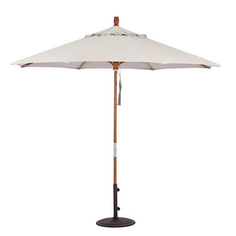 Home Decorators Collection 6 Ft Wood Pulley Open Patio Canvas Patio Umbrella