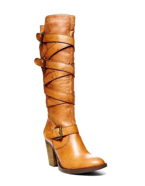 madden boots brown steve madden renegaid leather knee high boots in brown lyst