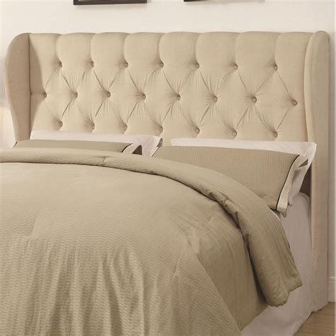 Upholstered Headboard King Murrieta Beige Upholstered King Tufted Headboard From Coaster 300444k Coleman Furniture