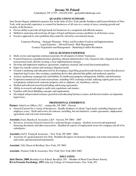 corporate lawyer resume sle sle resume for fresh college graduate