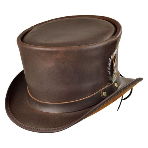 Hats To You by N Home Coachman Brown Leather Top Hat Top Hats