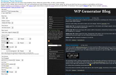 theme generator blog customizing blog themes for wordpress and blogger