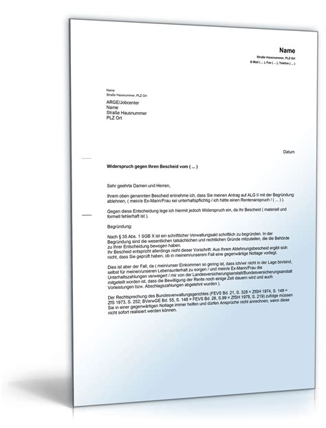 Musterbrief Widerspruch Gegen Ablehnung Reha Widerspruch Gegen Die Ablehnung Eines Antrags Auf Alg Ii