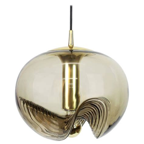 Smoked Glass Pendant Light One Of Three Large Smoked Glass Pendant Light By Peill And Putzler Germany 1970s For Sale At