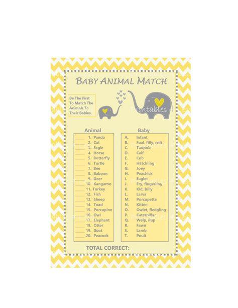 printable baby animal name game baby animal match game baby animal name game yellow chevron