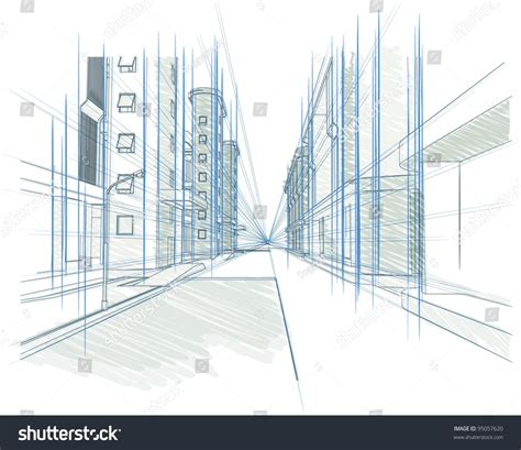 Perspective Drawing Building Concept Modern City Stock Architectural Drawings Vector