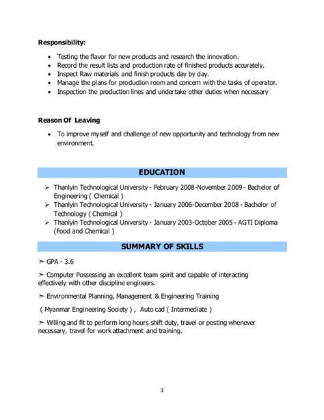 chemical engineering resume exles chemical engineer resume