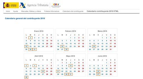 calendario del contribuyente calendario agencia tributaria calendario del contribuyente 2018 todos los tr 225 mites