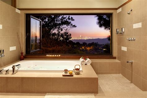 modern style master bathroom opens to hollywood hills view a folding window where in the bathroom nanawall