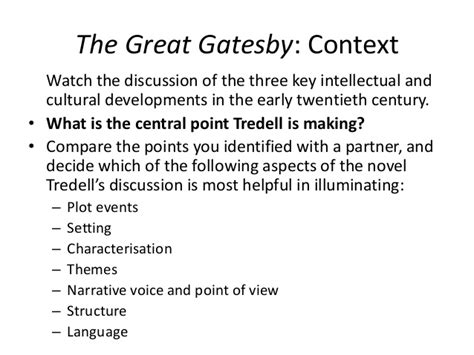 tone and theme of the great gatsby the great gatsby context