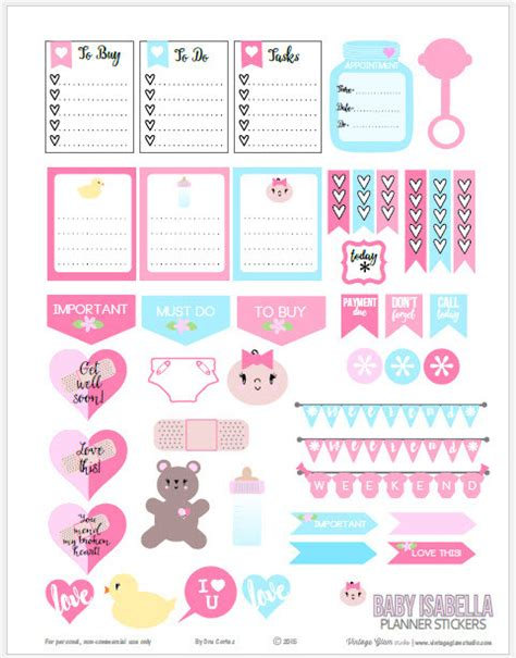 Babyaufkleber Kalender by Free Baby Themed Planner Stickers Free Printable