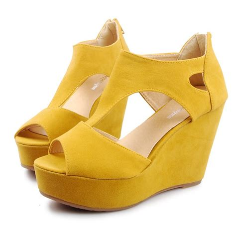 new fashion dress yellow wedge shoes s high
