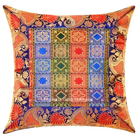 Brocade Pillows by 16 Inch Blue Decorative Unique One Of A Silk Brocade