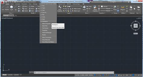how to change the workspace in autocad 2015 and in the