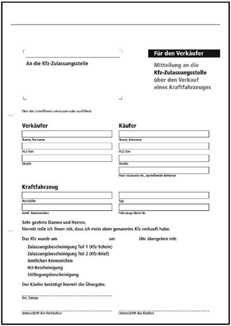 Motorrad Verkauf Abmeldung by Mitteilung An Die Kfz Zulassungsstelle Abmeldung
