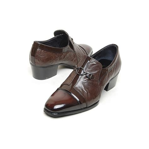 s brown leather cuban heel loafers