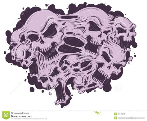 melting skulls stock vector image of tattoo vector